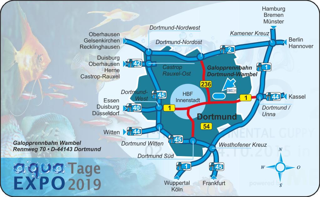 aqua EXPO Tage 2019 - Anfahrt Skizze